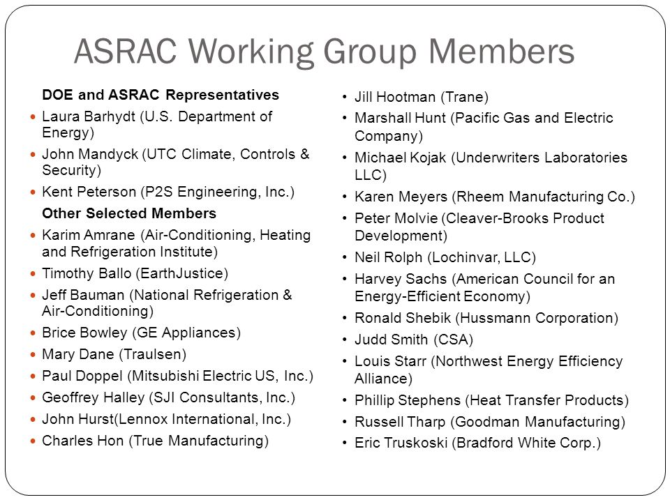 ASRAC Working Group Members