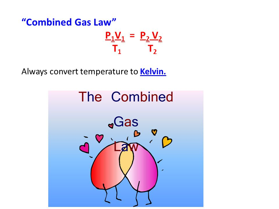 Combined Gas Law T1 T2 P1V1 = P2 V2