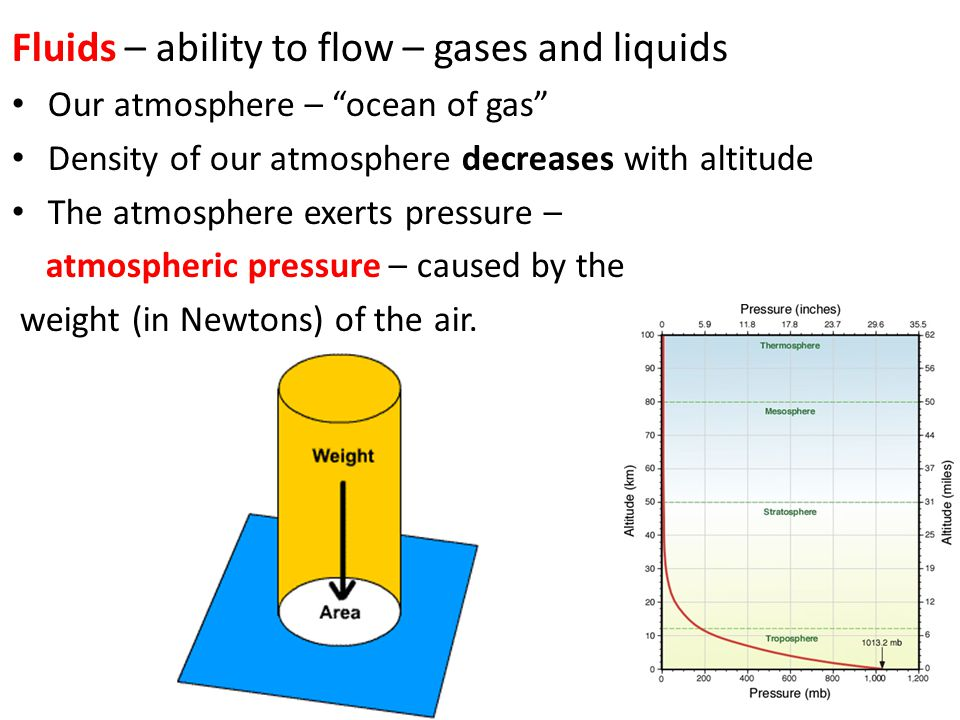 Fluids – ability to flow – gases and liquids