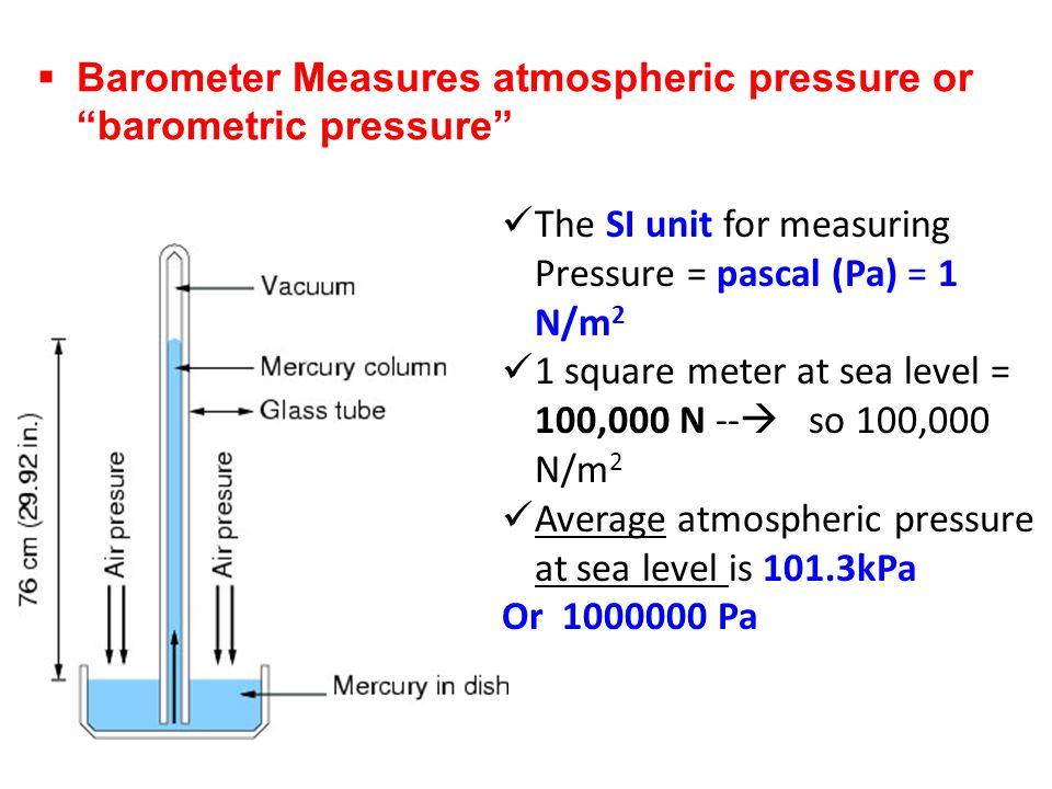 Barometer Measures atmospheric pressure or barometric pressure