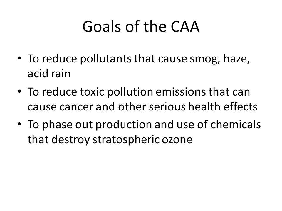 Goals of the CAA To reduce pollutants that cause smog, haze, acid rain