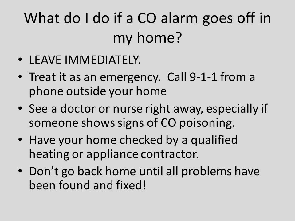 What do I do if a CO alarm goes off in my home