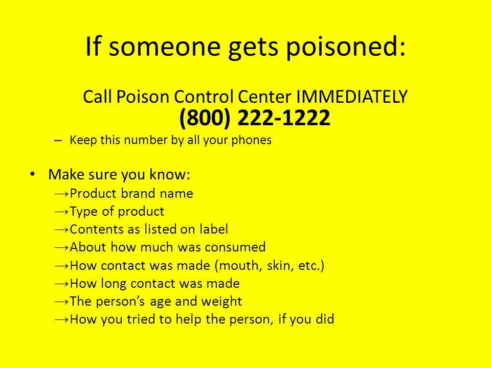 If someone gets poisoned: