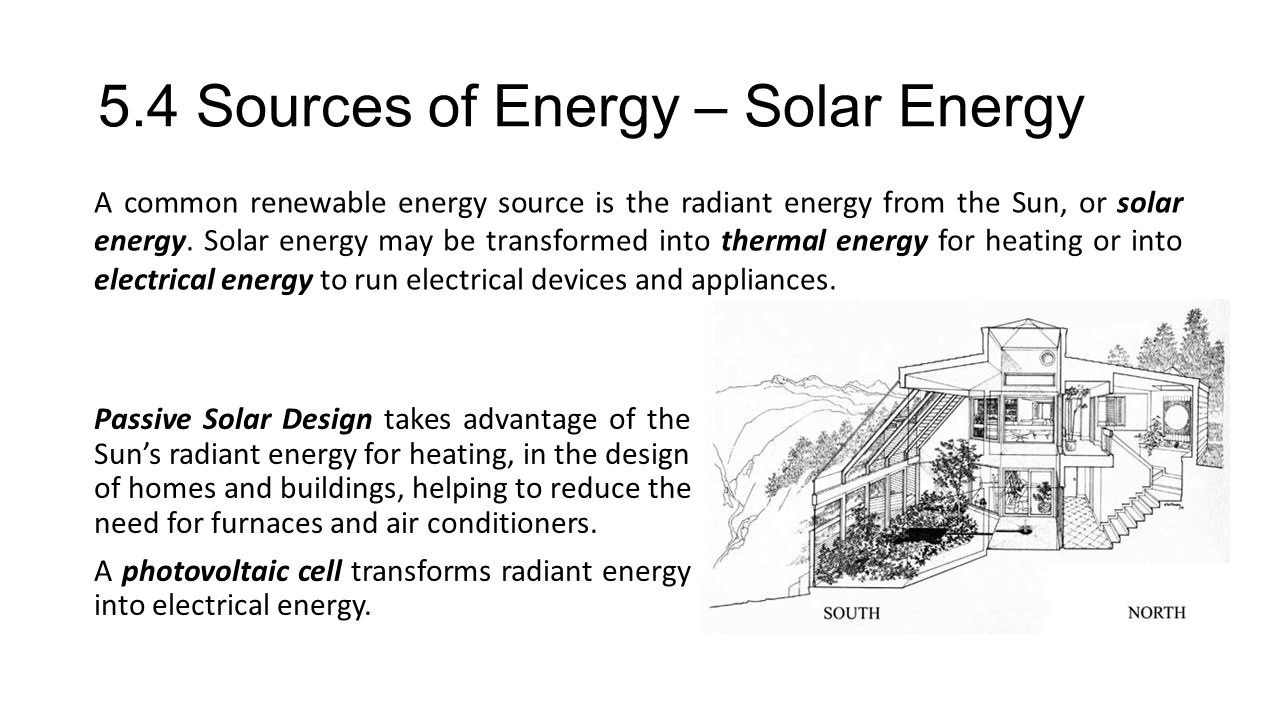 5.4 Sources of Energy – Solar Energy