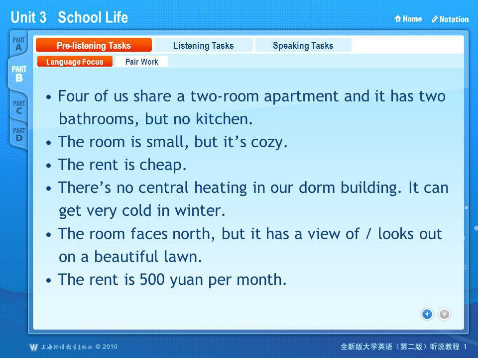 PartB_1 Four of us share a two-room apartment and it has two