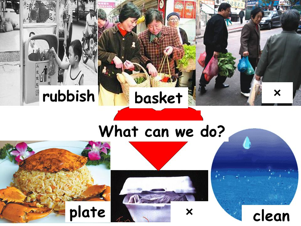 × rubbish basket What can we do plate × clean