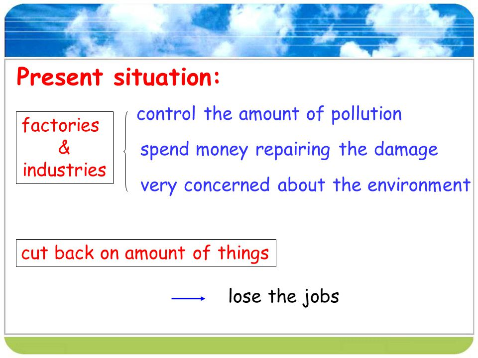 Present situation: control the amount of pollution factories &