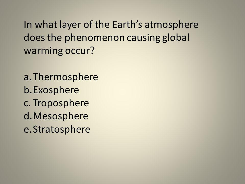 In what layer of the Earth's atmosphere does the phenomenon causing global warming occur