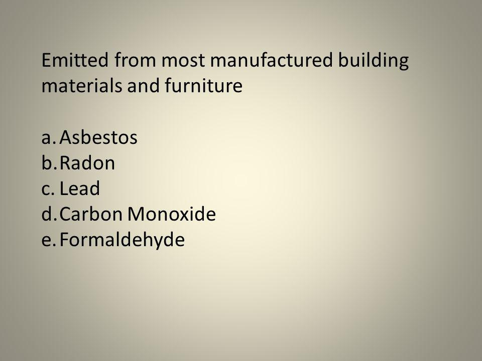 Emitted from most manufactured building materials and furniture