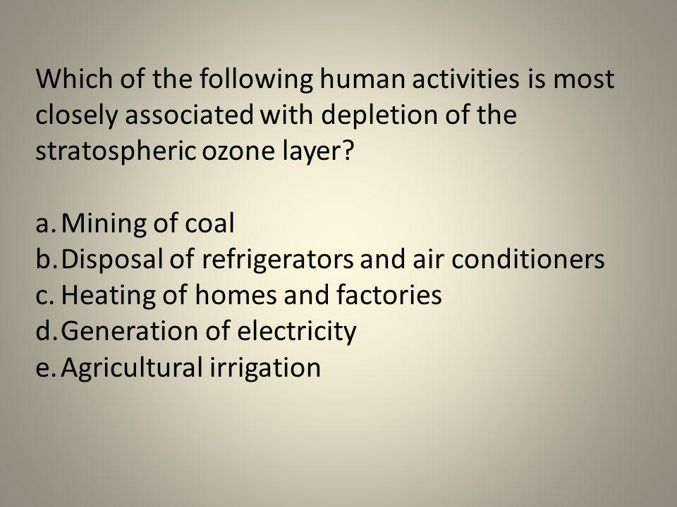 Which of the following human activities is most closely associated with depletion of the stratospheric ozone layer