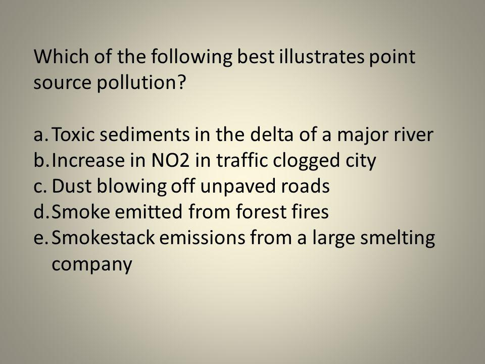 Which of the following best illustrates point source pollution