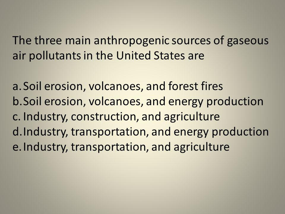 The three main anthropogenic sources of gaseous air pollutants in the United States are