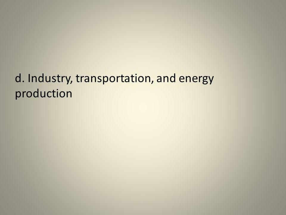 d. Industry, transportation, and energy production