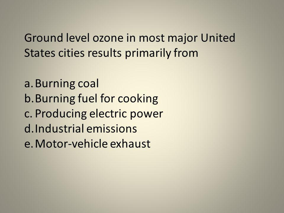 Ground level ozone in most major United States cities results primarily from
