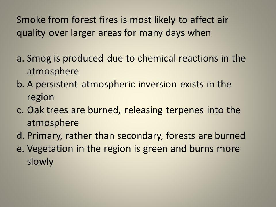 Smoke from forest fires is most likely to affect air quality over larger areas for many days when