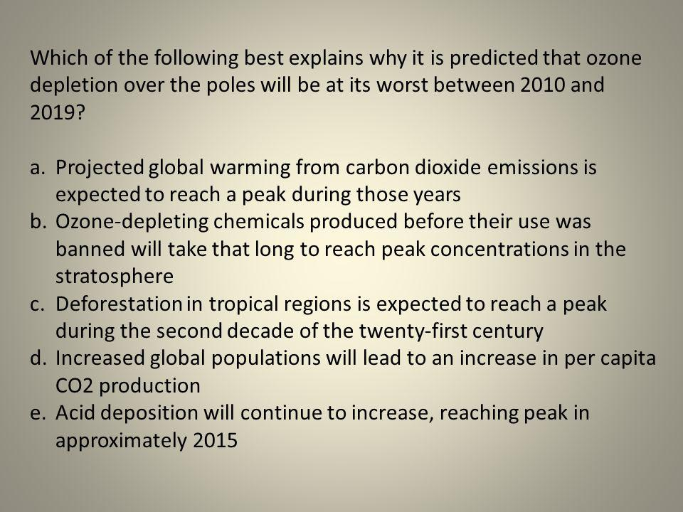 Which of the following best explains why it is predicted that ozone depletion over the poles will be at its worst between 2010 and 2019