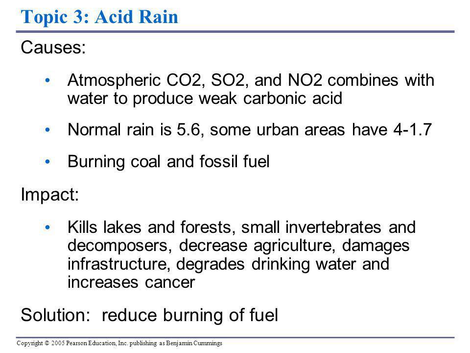 Topic 3: Acid Rain Causes: Impact: Solution: reduce burning of fuel