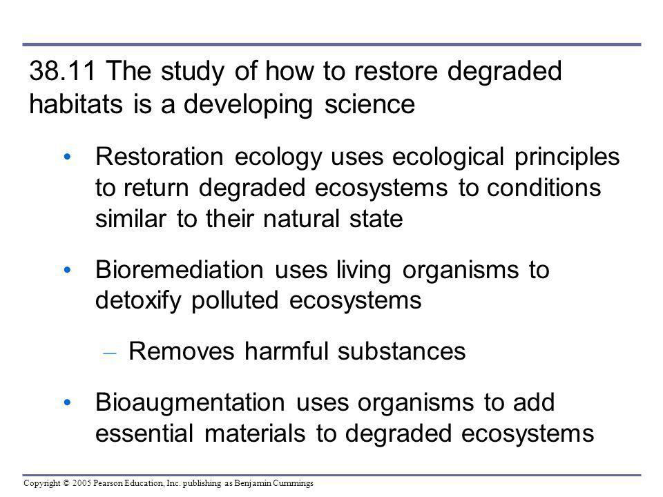 38.11 The study of how to restore degraded habitats is a developing science