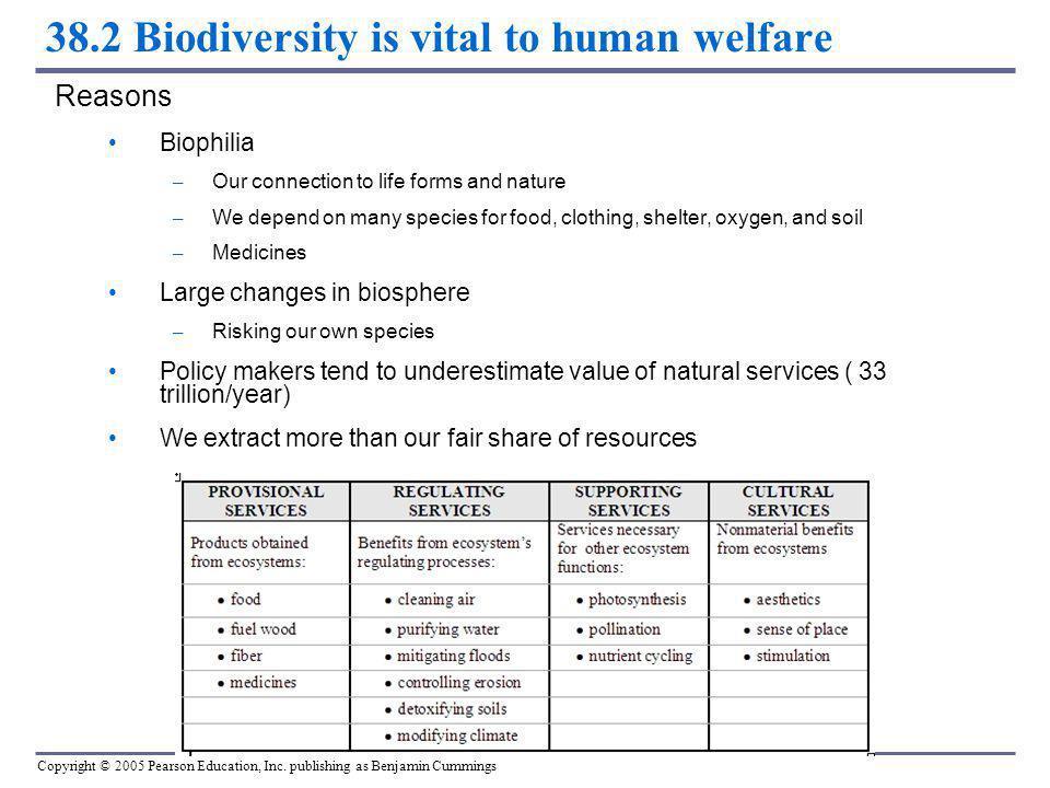 38.2 Biodiversity is vital to human welfare
