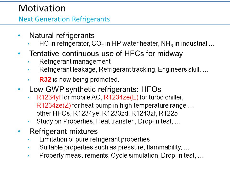 Motivation Next Generation Refrigerants