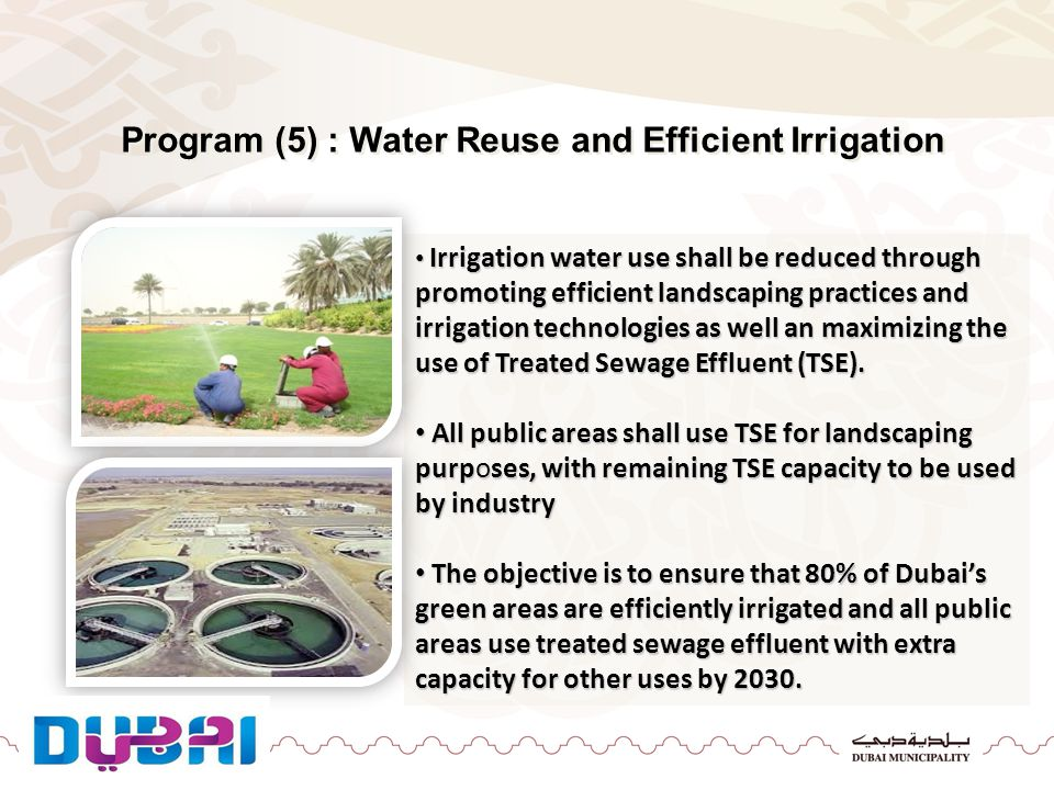 Program (5) : Water Reuse and Efficient Irrigation