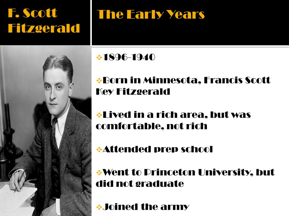 F. Scott Fitzgerald The Early Years 1896-1940
