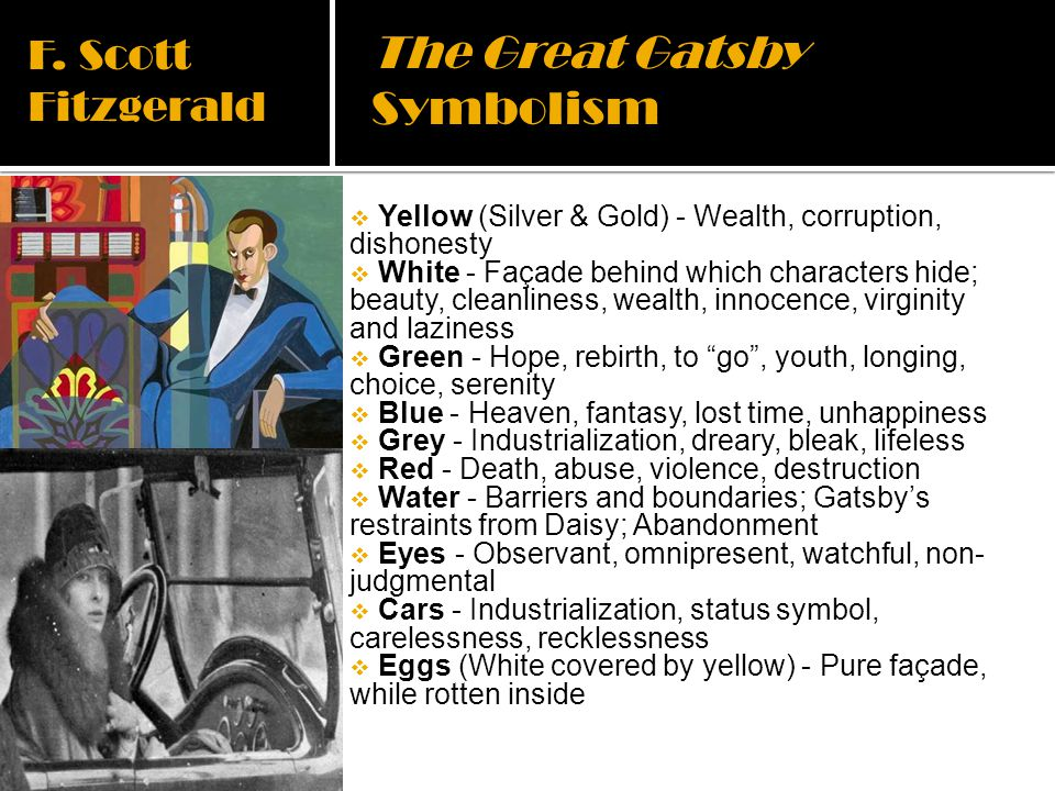 the embodiment of pure corruption in the great gatsby by f scott fitzgerald Jeremic 1 julija jeremic phd ivana djuric-paunovic american 20th century novel 12 december 2014 the great gatsby-narrative techniques, themes, symbolism in the novel the great gatsby, a novel by f scott fitzgerald, is usually referred to as one of the most important novels of the jazz age.