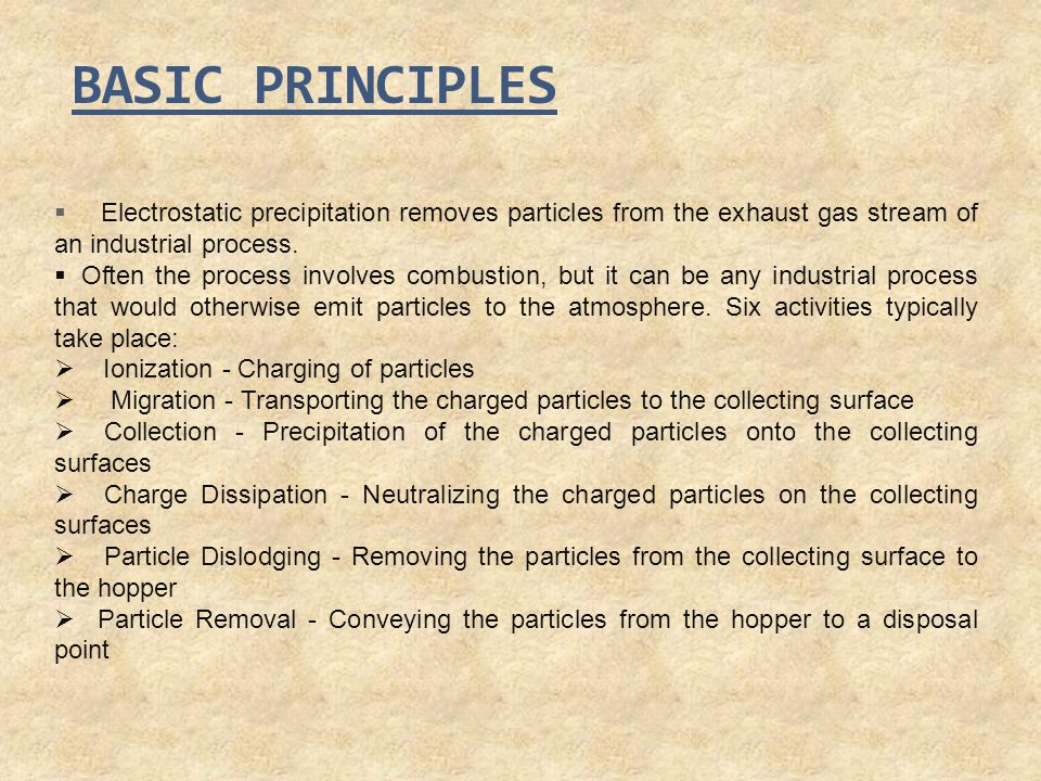 BASIC PRINCIPLES Electrostatic precipitation removes particles from the exhaust gas stream of an industrial process.