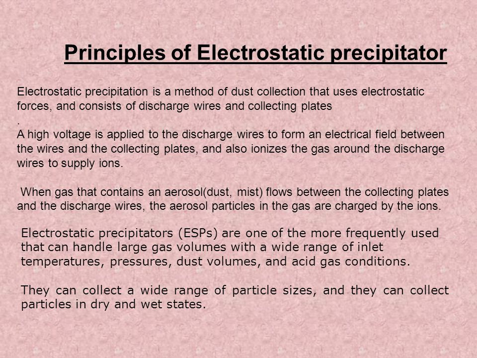 Principles of Electrostatic precipitator