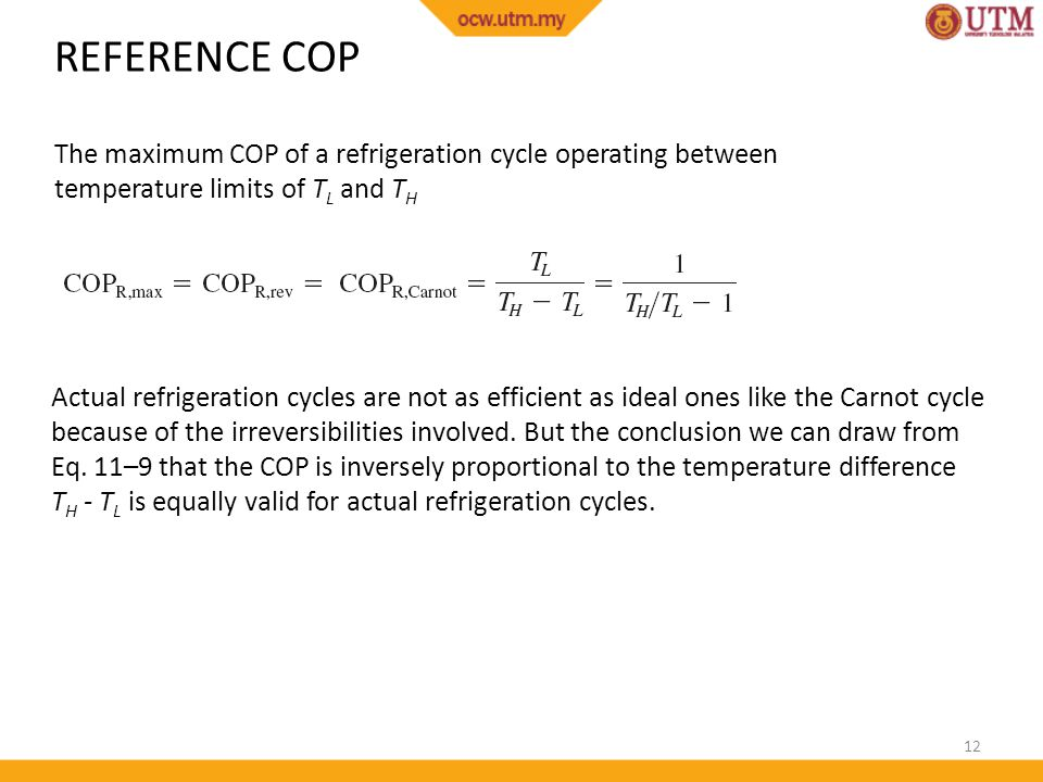 REFERENCE COP The maximum COP of a refrigeration cycle operating between temperature limits of TL and TH.