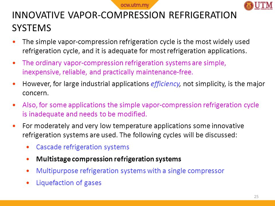 INNOVATIVE VAPOR-COMPRESSION REFRIGERATION SYSTEMS