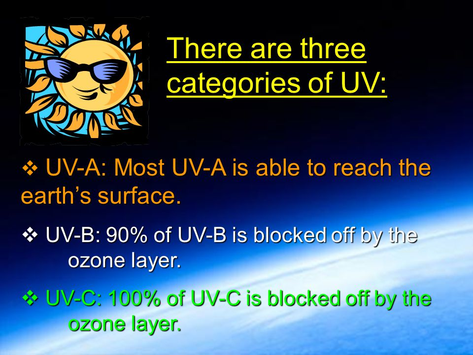 There are three categories of UV:
