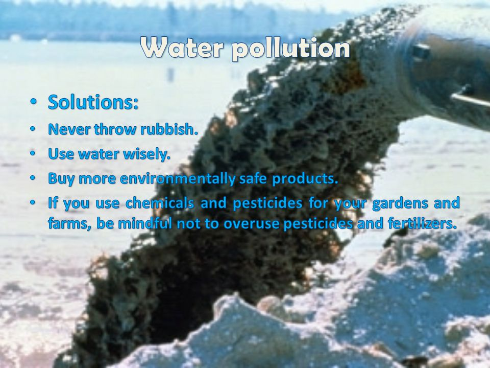 Water pollution Solutions: Never throw rubbish. Use water wisely.
