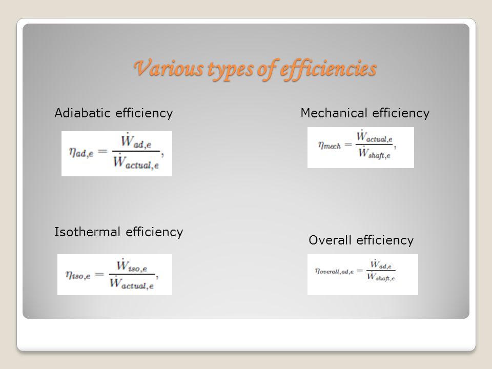 Various types of efficiencies