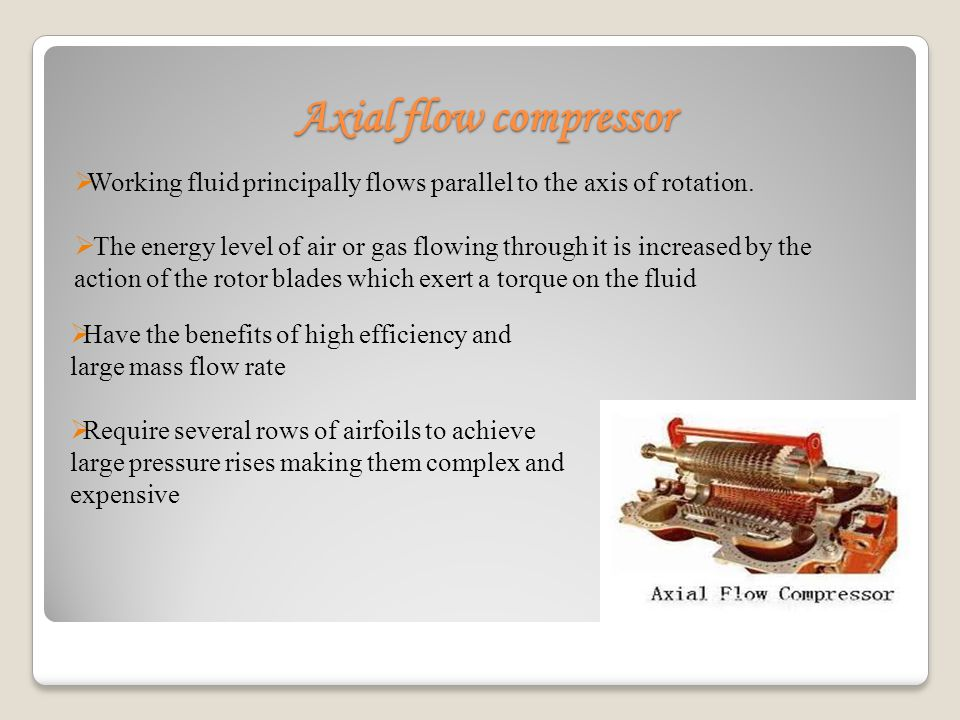 Axial flow compressor Working fluid principally flows parallel to the axis of rotation.