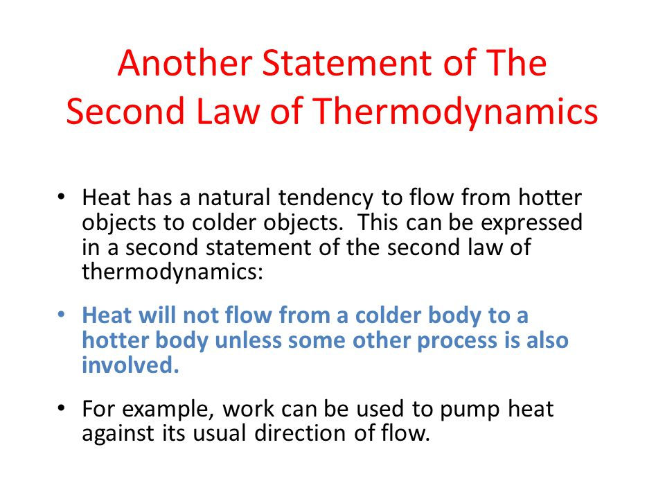Another Statement of The Second Law of Thermodynamics