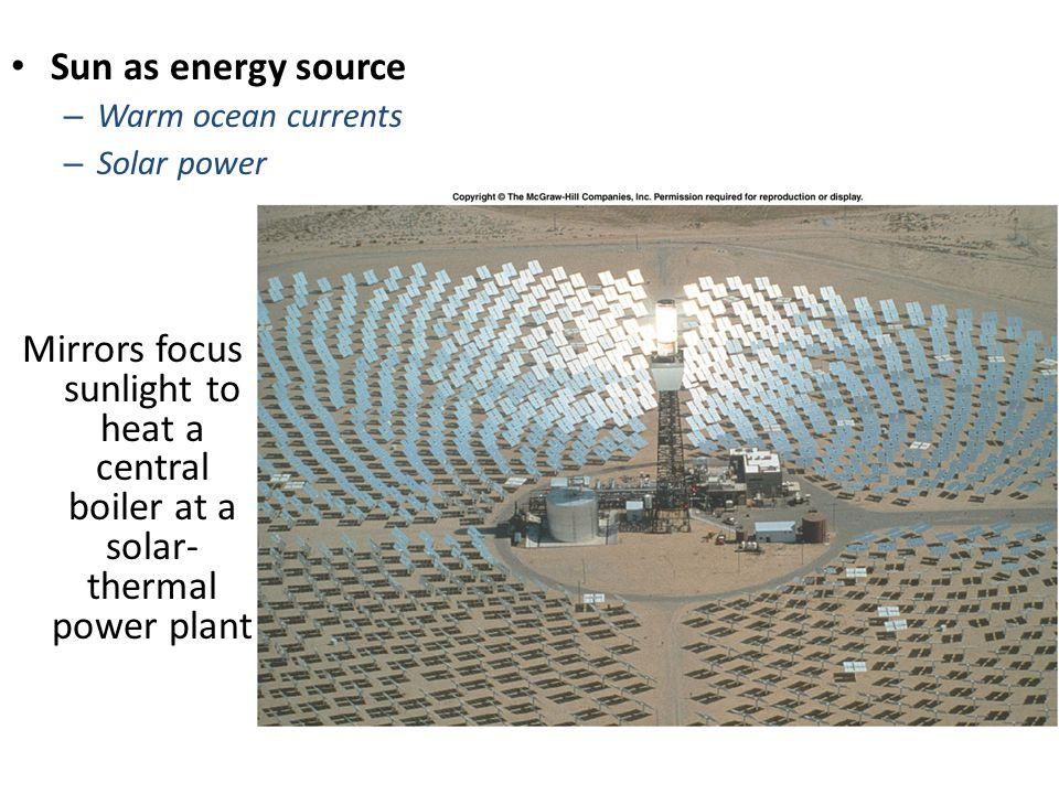 Sun as energy source Warm ocean currents. Solar power.