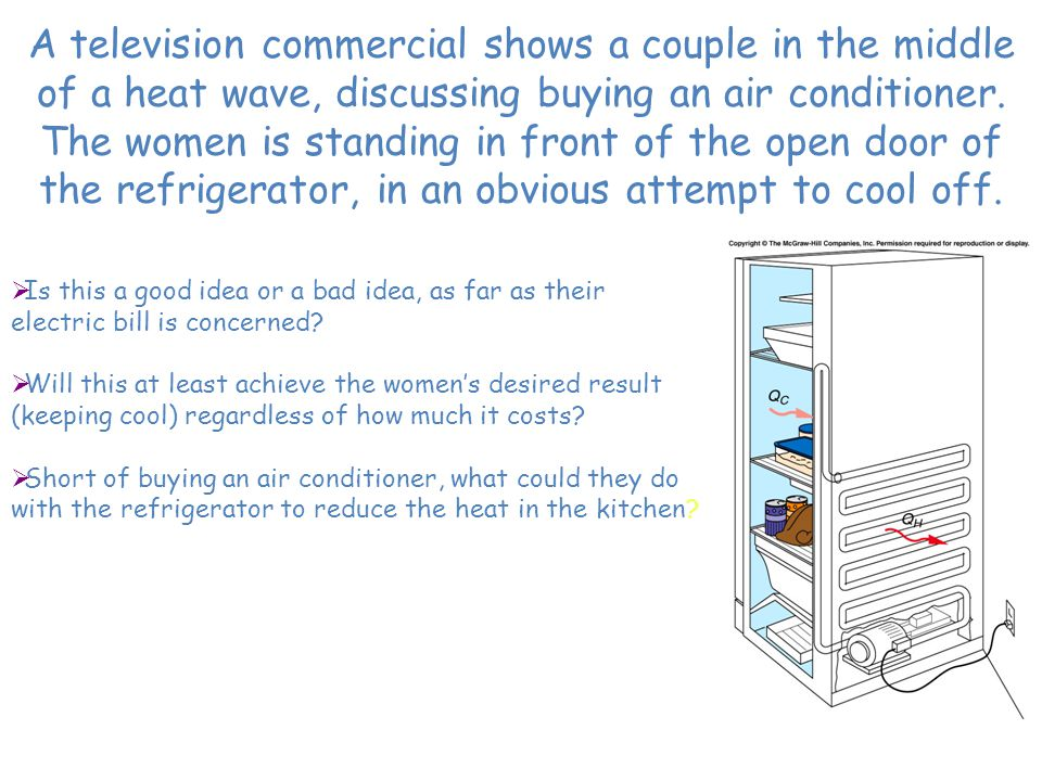 A television commercial shows a couple in the middle of a heat wave, discussing buying an air conditioner. The women is standing in front of the open door of the refrigerator, in an obvious attempt to cool off.