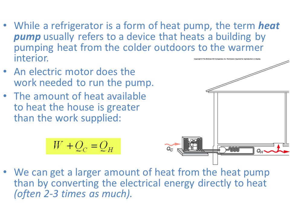 While a refrigerator is a form of heat pump, the term heat pump usually refers to a device that heats a building by pumping heat from the colder outdoors to the warmer interior.