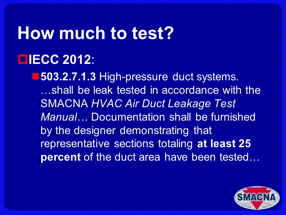 How much to test IECC 2012: