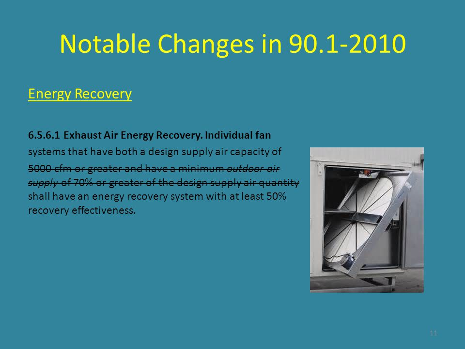 Notable Changes in 90.1-2010 Energy Recovery
