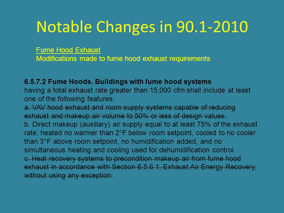 Notable Changes in 90.1-2010 Fume Hood Exhaust