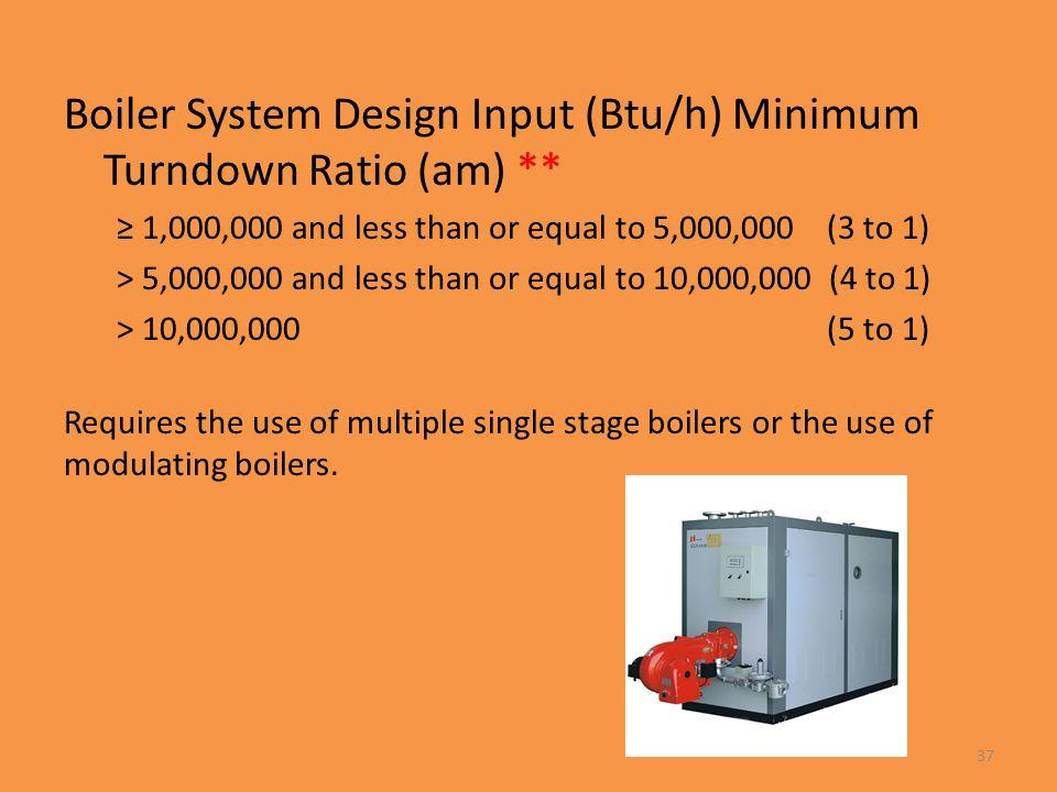 Boiler System Design Input (Btu/h) Minimum Turndown Ratio (am) **