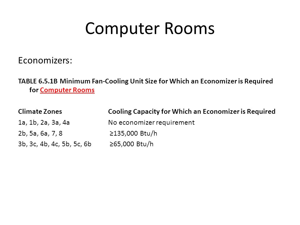 Computer Rooms Economizers: