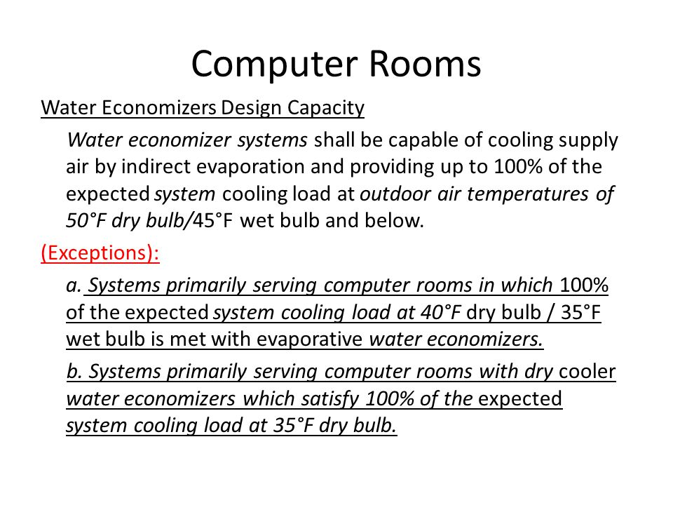 Computer Rooms Water Economizers Design Capacity