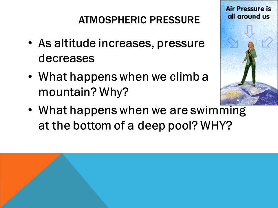 As altitude increases, pressure decreases