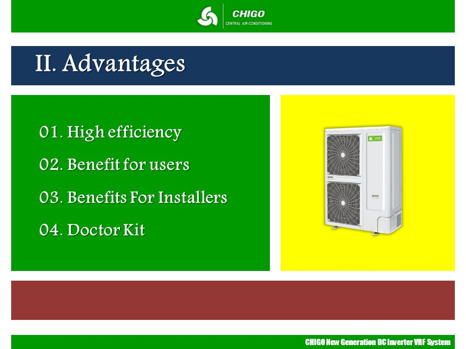 II. Advantages 01. High efficiency 02. Benefit for users