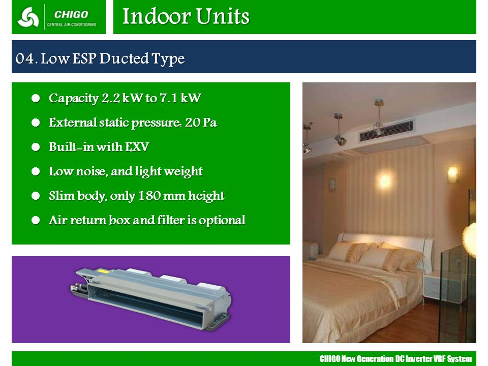 Indoor Units 04. Low ESP Ducted Type Capacity 2.2 kW to 7.1 kW