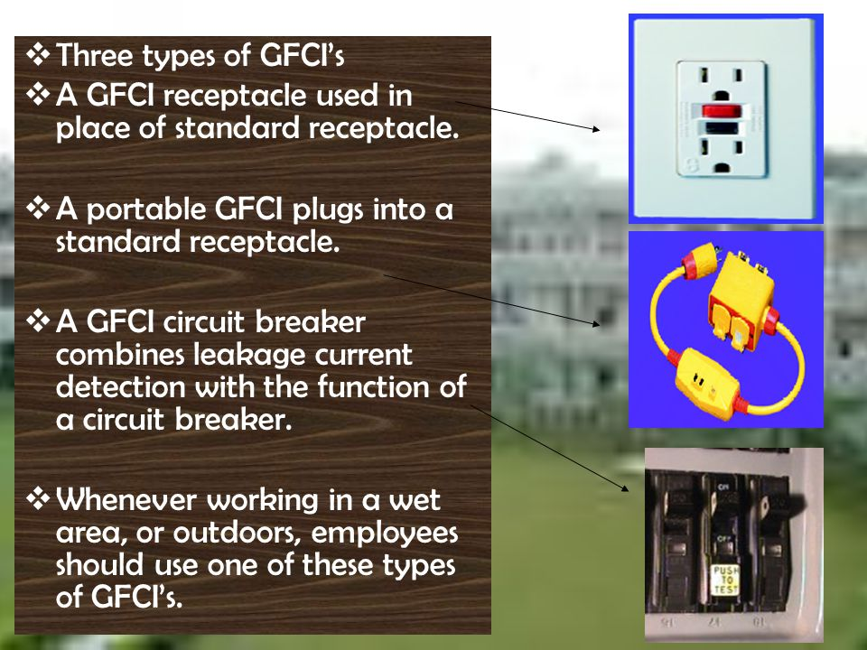 Three types of GFCI's A GFCI receptacle used in place of standard receptacle. A portable GFCI plugs into a standard receptacle.