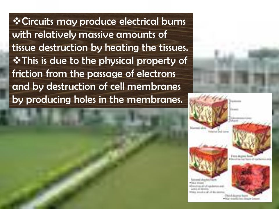 Circuits may produce electrical burns with relatively massive amounts of tissue destruction by heating the tissues.